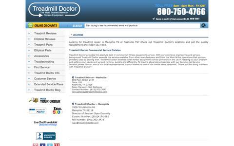 Screenshot of Locations Page treadmilldoctor.com - Treadmill Repair Memphis TN   Treadmill Repair Nashville TN   Treadmill Doctor - captured Sept. 19, 2014