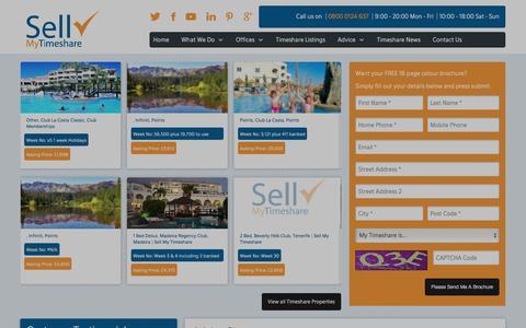 Screenshot of Home Page sellmytimeshare.tv - Sell a Timeshare | Need Help Selling a Timeshare | Sell My Timeshare | UK - captured Jan. 10, 2016