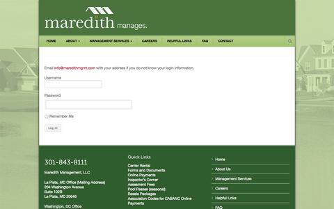 Screenshot of Login Page maredithmgmt.com - Maredith Management, LLC - captured Oct. 27, 2014