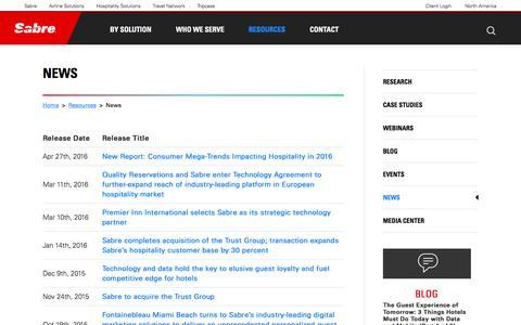 Screenshot of Press Page sabrehospitality.com - Hospitality Industry News | Sabre Hospitality Solutions - News | Online Marketing News - captured Sept. 28, 2016
