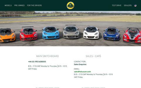 Screenshot of Contact Page lotuscars.com - Contact Us - Lotus Cars - captured April 15, 2019