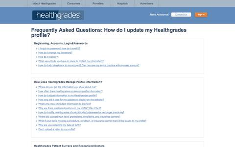 Frequently Asked Questions: How do I update my Healthgrades profile?