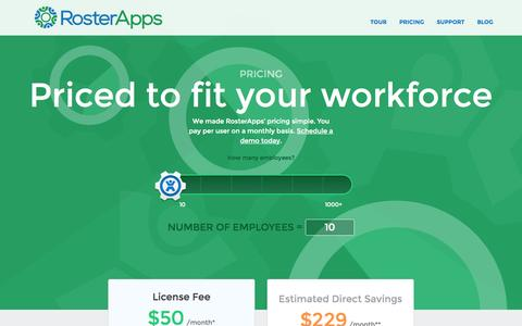 Screenshot of Pricing Page rosterapps.com - RosterApps Pricing - captured Sept. 19, 2014