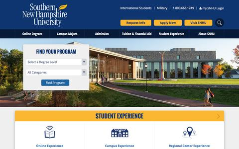 Screenshot of Home Page snhu.edu - Southern New Hampshire University | SNHU - captured Oct. 15, 2015