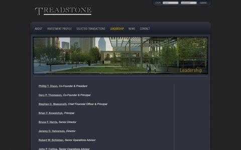 Screenshot of Team Page treadstone.com - Leadership   Treadstone - captured Oct. 7, 2014