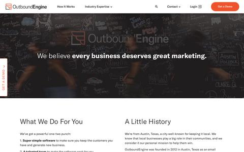 Screenshot of About Page outboundengine.com - About OutboundEngine - Marketing Automation for Every Business - captured Nov. 4, 2018