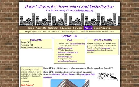 Screenshot of Contact Page Team Page buttecpr.org - Butte CPR   Contact Us   Butte Citizens for Preservation and Revitalization - captured Jan. 21, 2017