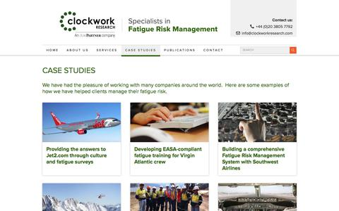 Screenshot of Case Studies Page clockworkresearch.com - Case Studies - Clockwork Research - Specialists in Fatigue Risk Management - captured Aug. 6, 2017