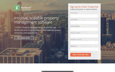 Screenshot of Landing Page buildium.com - Learn Buildium - captured Feb. 23, 2016