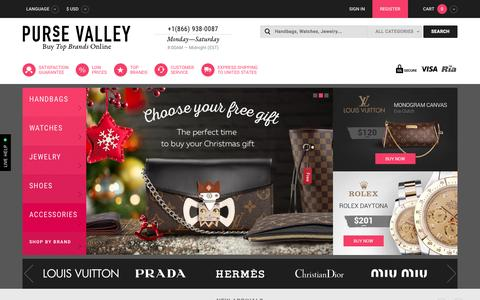 Screenshot of Home Page pursevalley.cn - Purse Valley: Replica Handbags, Fake Watches, Knockoff Shoes and Accessories - captured Nov. 17, 2015