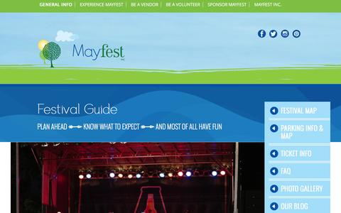 Screenshot of FAQ Page mayfest.org - Festival Guide | Mayfest - captured March 2, 2016