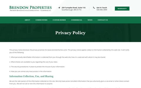 Screenshot of Privacy Page brendonhomes.com - Privacy Policy   Brendon Homes - captured Oct. 6, 2018