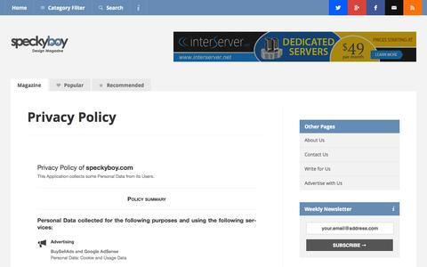 Screenshot of Privacy Page speckyboy.com - Privacy Policy - Speckyboy Web Design Magazine - captured Oct. 29, 2014