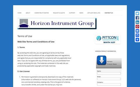 Screenshot of Terms Page horizoninstrumentgroup.com - Terms of Use | Horizon Instrument Group - captured Jan. 30, 2016