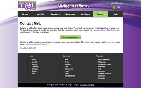 Screenshot of Contact Page mel.org - Michigan eLibrary - Contact Us - captured Oct. 27, 2014