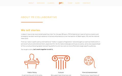 Screenshot of About Page prcollaborative.com - About — PR Collaborative - captured July 9, 2016