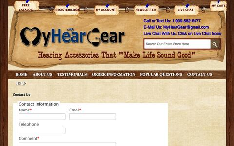 Screenshot of Support Page myheargear.com - Contact Us - captured Dec. 5, 2015