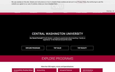 Screenshot of Home Page cwu.edu - Central Washington University - captured July 19, 2017