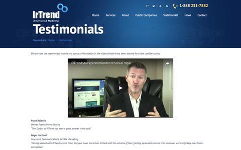 Screenshot of Testimonials Page irtrend.com - Testimonials   IRTrend.com   IR Services - captured May 26, 2017