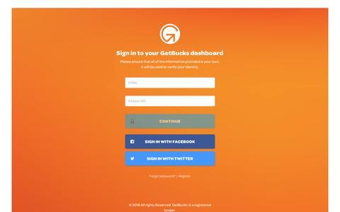 Screenshot of Login Page getbucks.com - GetBucks | Instant Online Credit. Get More with GetBucks. - captured July 13, 2016
