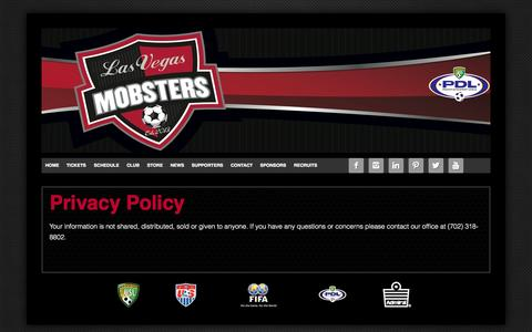 Screenshot of Privacy Page lvmobsters.com - Privacy Policy - Las Vegas Mobsters Soccer - captured Oct. 2, 2014