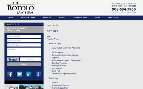 Screenshot of Site Map Page rotololawfirm.com - Hunterdon County, New Jersey Accident Lawyer :: Site Map :: Flemington, New Jersey Injury Attorney - captured Dec. 1, 2016