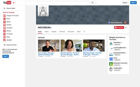 Screenshot of YouTube Page youtube.com - ARCHIBUStv  - YouTube - captured Oct. 23, 2014