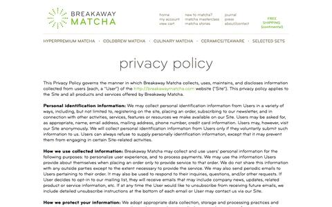 Privacy Policy | Breakaway Matcha
