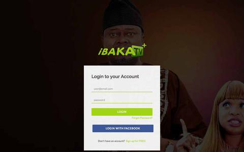 Screenshot of Login Page ibakatv.com - Login to iBAKATV   Number One Online Movie Platform for Latest Nollywood and Ghanaian Movies - captured Jan. 8, 2016
