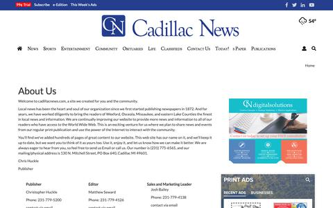 Screenshot of About Page cadillacnews.com - About Us | Site | cadillacnews.com - captured Sept. 28, 2018