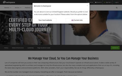 Screenshot of About Page rackspace.com - About Rackspace: The number one Managed Cloud company - captured Sept. 21, 2018