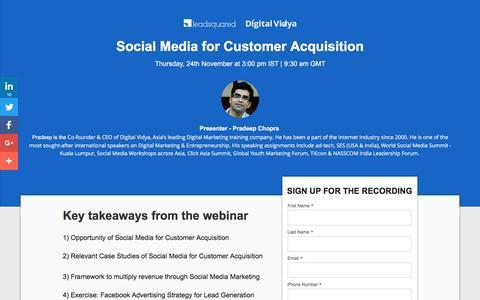 Screenshot of Landing Page leadsquared.com - [Webinar Recording] Social Media for Customer Acquisition - captured Jan. 3, 2017