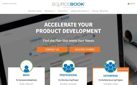 Screenshot of Pricing Page sourcebookmaterials.com - Pricing & Plans | Sourcebook Advanced Flexible Materials Sourcing - captured July 9, 2018