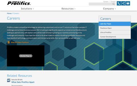 Screenshot of Jobs Page arsin.com - Careers | Prolifics - captured Nov. 1, 2014