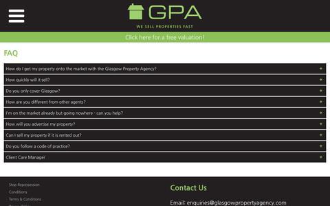 Screenshot of FAQ Page glasgowpropertyagency.com - FAQ - Glasgow Property Agency - captured Nov. 5, 2018