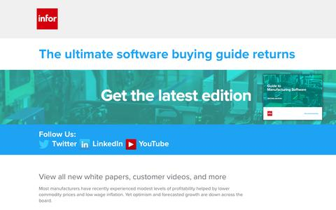 Screenshot of Landing Page infor.com - Download the Guide to Manufacturing Software, Second Edition – Infor - captured May 20, 2017
