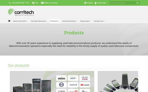 Screenshot of Products Page carritech.com - Used Telecommunications Products | Carritech Telecommunications - captured Sept. 27, 2018