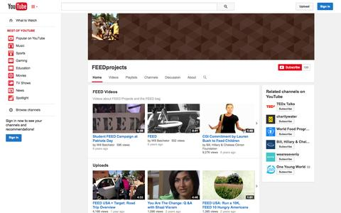 Screenshot of YouTube Page youtube.com - FEEDprojects  - YouTube - captured Oct. 23, 2014