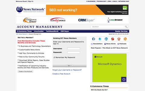 Screenshot of Login Page ectnews.com - ECT News Account Sign In - captured Sept. 24, 2014