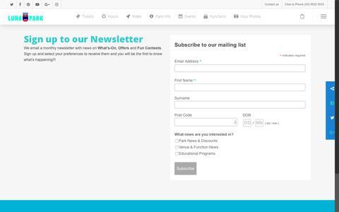 Screenshot of Signup Page lunapark.com.au - Newsletter Sign up - Luna Park Melbourne - captured Dec. 16, 2018