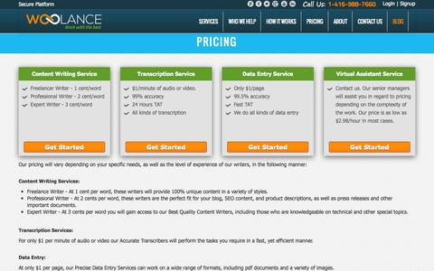 Screenshot of Pricing Page woolance.com - Woolance - Pricing for VAs   Content Writers   Transcribers - captured Oct. 26, 2014