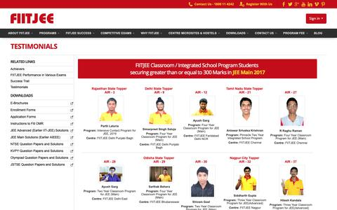 Screenshot of Testimonials Page fiitjee.com - FIITJEE - captured Oct. 2, 2018