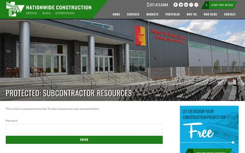 Screenshot of Login Page nationwideconstruction.us - Subcontractor Resources | Nationwide Construction - captured Sept. 20, 2018