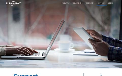 Screenshot of Support Page usaepay.info - USAePay: Smarter Solutions For Secure Payments - captured Jan. 26, 2018