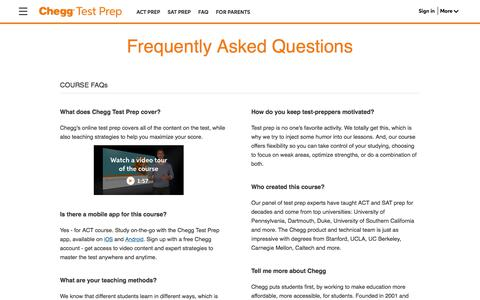 Screenshot of FAQ Page chegg.com - Test Prep Frequently Asked Questions | Chegg.com - captured June 13, 2017