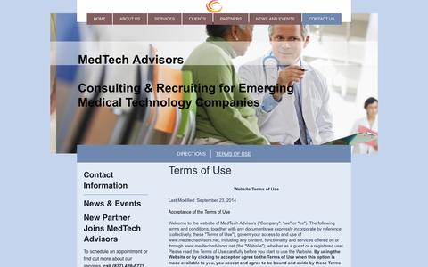 Screenshot of Terms Page medtechadvisors.net - MedTech Advisors-Emerging Medical Technology Specialists - Terms of Use - captured Oct. 29, 2014