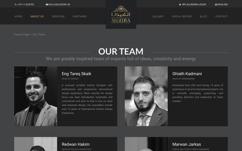 Screenshot of Team Page algedra.ae - Our Team | ALGEDRA - captured Jan. 17, 2016