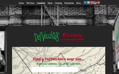 Screenshot of Locations Page delvecchiospizza.com - DelVecchio's | Locations in Broward County - captured Oct. 5, 2014