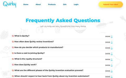 Screenshot of FAQ Page quirky.com - Quirky - captured Feb. 7, 2019