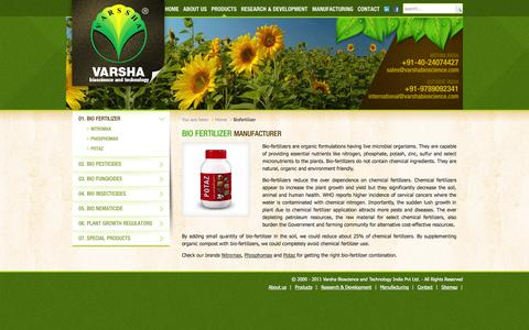Screenshot of Products Page varshabioscience.com - Bio Fertilizer Biofertilizer Manufacturer - captured Oct. 25, 2014